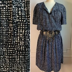 Vintage 80s Tribal Print Mini Dress